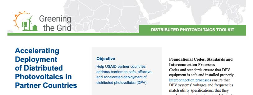 AcceleratingDeploymentof DistributedPhotovoltaics inPartner Countries