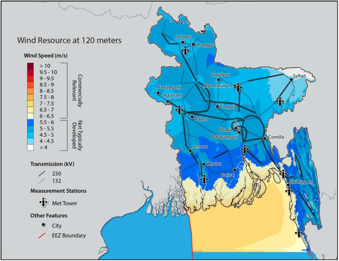 resource map from Bangladesh wind assessment study