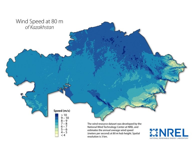 Kazakhstan wind speed at 80m